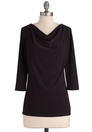 How to Deal Top in Black - Black, Solid, 3/4 Sleeve, Casual, Minimal, Variation, Mid-length