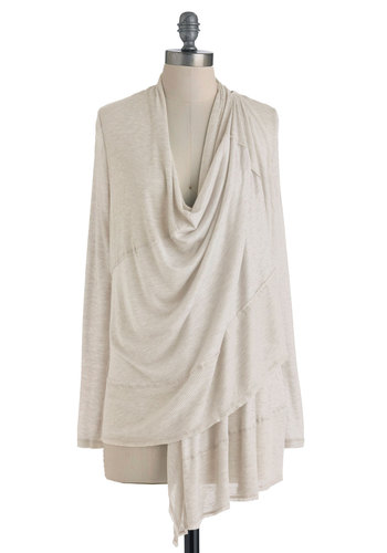 Carefree as a Bird Cardigan in Beige - Mid-length, Tan, Cream, Solid, Casual, Minimal, Long Sleeve