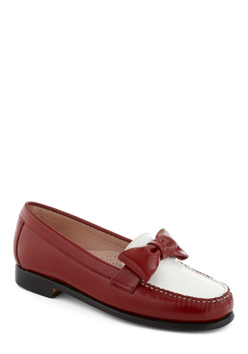 Rachel Antonoff for Bass Red, White, and Bow Flat by Bass - Red, White, Bows, Menswear Inspired, Leather, Vintage Inspired, Luxe, Low