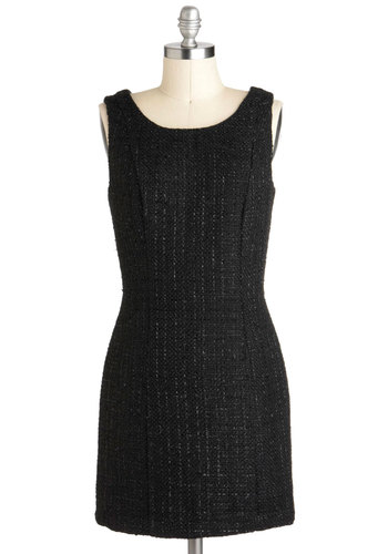 It's Only Make Be-Weave Dress - Short, Black, Solid, Work, Shift, Sleeveless, Vintage Inspired