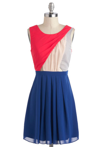 Del Mar Darling Dress - Short, Multi, Blue, Pink, Pleats, Party, Colorblocking, A-line, Sleeveless, Cutout