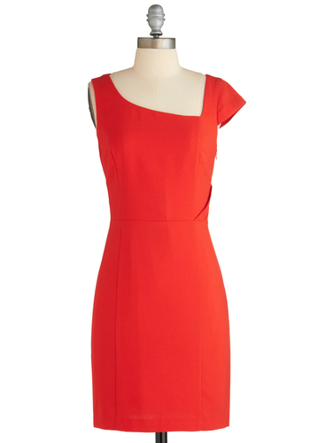 Angular Intrigue Dress - Mid-length, Red, Solid, Cutout, Party, Sheath / Shift, Holiday Party, Cap Sleeves