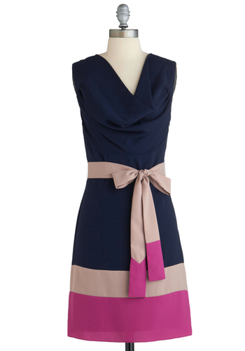 Lines of Poetry Dress in Deep - Mid-length, Blue, Pink, Tan / Cream, Belted, Colorblocking, Sleeveless, Cowl, Work, Shift, Exclusives, Gifts Sale