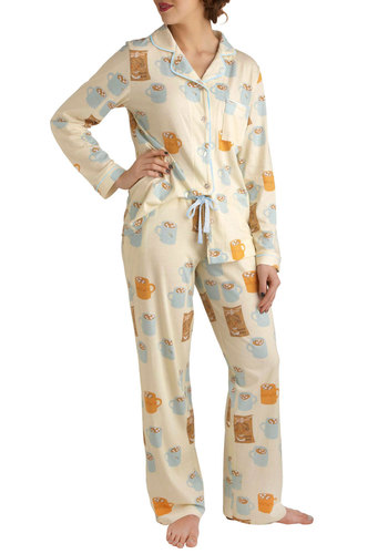 Snug as a Mug Pajamas by Munki Munki - Multi, Print, Casual, Quirky, Winter