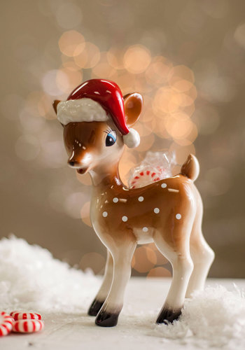 Fawn of the Holidays Candy Dish by One Hundred 80 Degrees - Multi, Holiday, Vintage Inspired, Dorm Decor