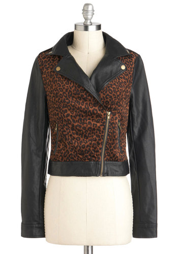 Vroom With a View Jacket - Brown, Black, Animal Print, Pockets, Long Sleeve, 2, Buttons, Exposed zipper, Urban, Fall, Short