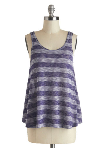 Trapeze and Tank You Top - Blue, Stripes, Casual, Cotton, Mid-length, Grey, Sleeveless, Scoop, Summer, Travel