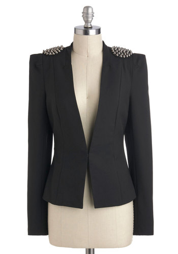 Music Industry Blazer - Short, 1, Black, Solid, Studs, Girls Night Out, Urban, Long Sleeve, Music