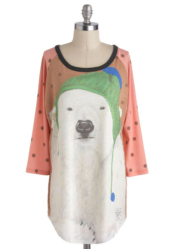 Just Chillin' Tee - Long, Multi, Casual, 3/4 Sleeve, Winter, Print with Animals