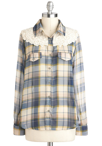 The Plaid Lands Top - Sheer, Mid-length, Multi, Yellow, Blue, Tan / Cream, White, Plaid, Buttons, Lace, Casual, Rockabilly, Vintage Inspired, Long Sleeve, Collared, Fall