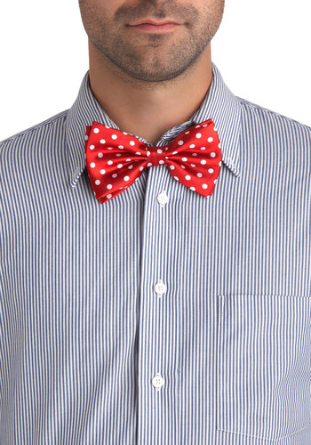 Ties and Dolls Bow Tie - Red, White, Polka Dots, Party, Black, Holiday Party, Variation, Guys