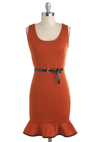 Pumpkin Truffle Dress - Orange, Solid, Belted, Sheath / Shift, Sleeveless, Fall, Mid-length, Ruffles, Work, Party, Pinup, Scoop