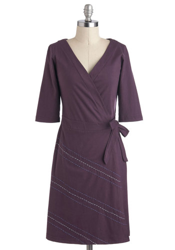 Freeway from Commitments Dress - Purple, Solid, A-line, 3/4 Sleeve, Casual, Wrap, Mid-length, Eco-Friendly, Cotton, Work