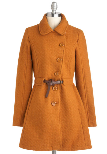 Laura's Pick of the Pumpkin Patch Coat - Long, Yellow, Solid, Buttons, Belted, Long Sleeve, Collared, 4