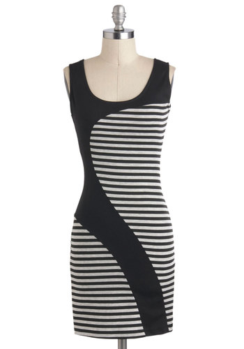 Take a Contour Dress - Black, Stripes, Short, Grey, Girls Night Out, Sheath / Shift, Tank top (2 thick straps), 80s, Scoop