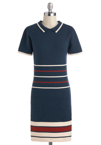Top Spin Dress by Dear Creatures - Cotton, Mid-length, Blue, Red, White, Stripes, Casual, Shift, Short Sleeves, Collared, Pockets, Nautical, Work