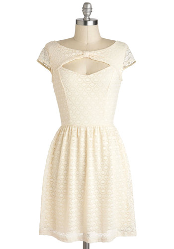 You're My Ivory Thing Dress - Short, Cream, Solid, Backless, Cutout, Lace, A-line, Cap Sleeves, Party, Cocktail, Vintage Inspired, Graduation