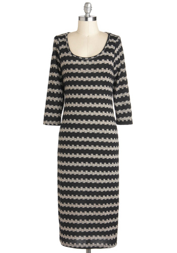 You Sweater Believe It! Dress - Black, Casual, Maxi, 3/4 Sleeve, Long, Tan / Cream, Sweater Dress, Stripes, Variation, Scoop