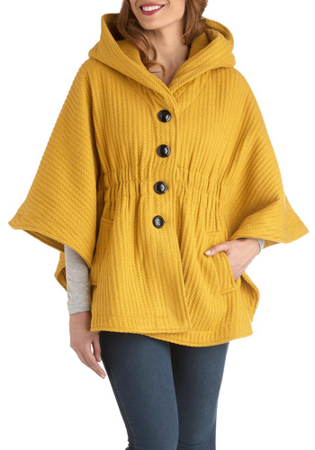 In a Curry Cape by Steve Madden - Yellow, Solid, Buttons, Short, Casual, 2, Fall, Tis the Season Sale