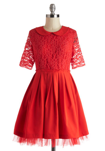 Pleased as Punch Dress - Red, Lace, Peter Pan Collar, Pleats, Party, A-line, Sheer, Short, Solid, Short Sleeves, Collared, Holiday Party
