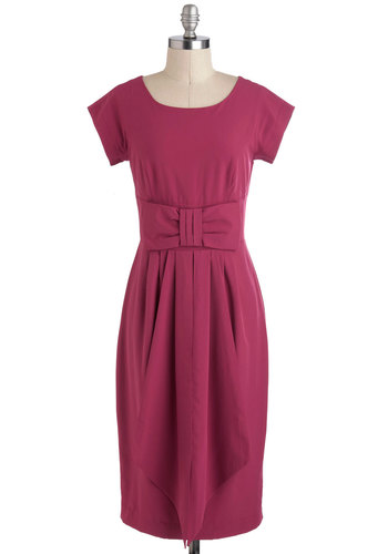 Cerise the Day Dress - Solid, Cocktail, Long, Bows, Sheath / Shift, Cap Sleeves, Party, Vintage Inspired, 50s, Pink, Purple, Red