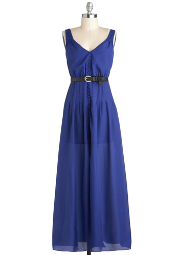Wild Blue Wanderer Dress by Ladakh - Blue, Solid, Buttons, Casual, Maxi, Sleeveless, Belted, Long, Daytime Party, Beach/Resort