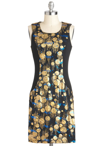 All That Jazz Lounge Dress - Sleeveless, Jersey, Mid-length, Black, Gold, Exposed zipper, Holiday Party, Shift, Print, Party, Statement, Mod, 20s