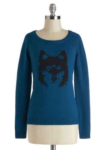 I've Got Your Pack Sweater by Ladakh - Blue, Black, Knitted, Casual, Vintage Inspired, Long Sleeve, Mid-length, Print with Animals