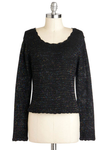 In Living Colorful Sweater by Mink Pink - Black, Multi, Knitted, Casual, Long Sleeve, Short, Scallops
