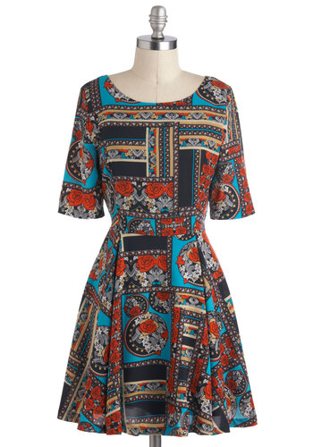 A Fine Firenze Dress by Mink Pink - Multi, Print, Casual, A-line, Mid-length, Vintage Inspired, Short Sleeves, Fall, Work