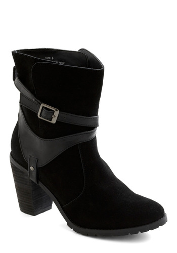 Onyx the Road Boot by Restricted - Black, Solid, Buckles, Mid, Chunky heel, Leather, Urban, Tis the Season Sale