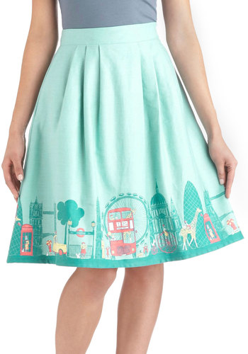 Been There, London That Skirt - Cotton, Long, Green, Daytime Party, Quirky, A-line, Multi, Pastel, International Designer