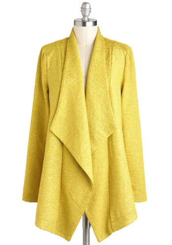 Let's Call a Chartreuse Jacket by Mink Pink - Yellow, Solid, Long Sleeve, Mid-length, Casual, 1