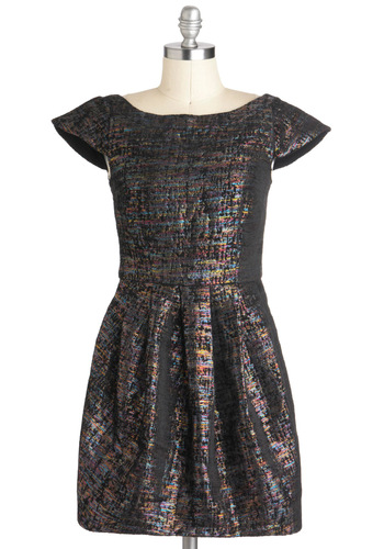 Color Me Rad Dress by Mink Pink - Pleats, Party, A-line, Winter, Short, Holiday Party, Cap Sleeves, Multi