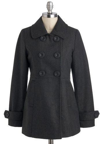 Peas in a Pod Coat in Charcoal - Grey, Solid, Buttons, Long Sleeve, Mid-length, 3, Scholastic/Collegiate, Tis the Season Sale, Variation