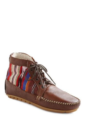 Gathering Sticks Bootie - Tan, Multi, Patch, Casual, Boho, Fall, Rustic, Leather, Lace Up, Flat