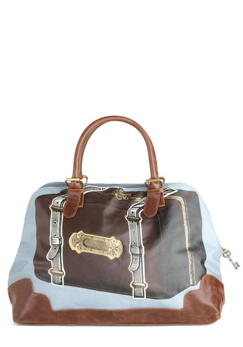 Just in Suitcase Overnight Bag by Disaster Designs - Brown, Multi, Novelty Print, Buckles, Quirky, Travel, Tis the Season Sale, International Designer, Graduation