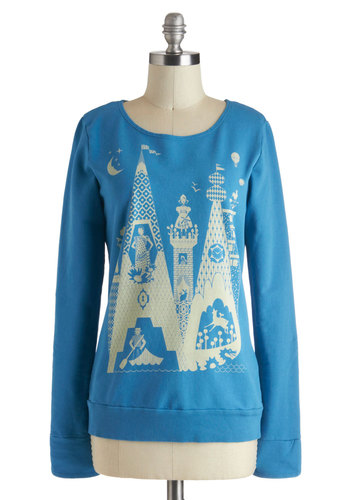 Knits a Small World Sweatshirt - Blue, Yellow, Casual, Long Sleeve, Novelty Print, Fairytale, Mid-length, Travel, Top Rated