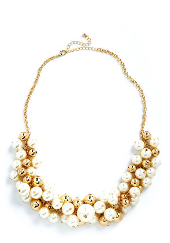 Break Out the Baubly Necklace - Gold, Pearls, Holiday Party, Luxe, Statement, White