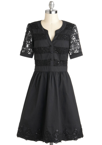 Well-to-Dew Dress in Noir - Mid-length, Black, Solid, Beads, Lace, Film Noir, A-line, Short Sleeves, Formal, Holiday Party, Exclusives, Variation, Party, Fit & Flare
