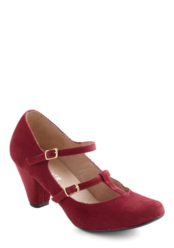 Mulling It Over Heel by Chelsea Crew - Mid, Leather, Red, Solid, Buckles, Party, Work, Vintage Inspired, 30s, Tis the Season Sale