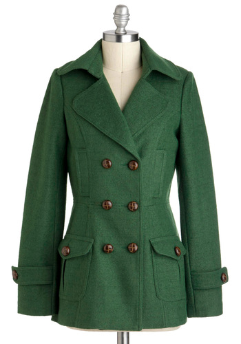 Grassroots Gal Coat - Mid-length, Green, Solid, Buttons, Pockets, Double Breasted, Long Sleeve, Winter, 3, Tis the Season Sale, Casual