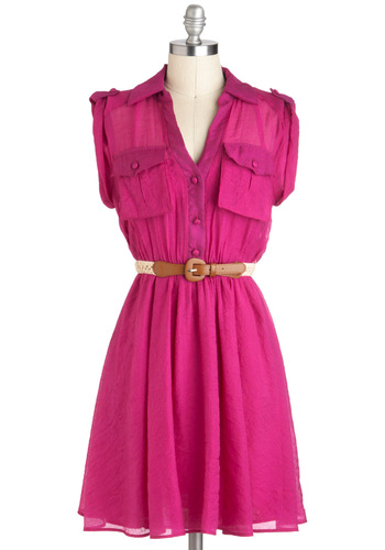 Magenta Momentum Dress - Mid-length, Pink, Solid, Buttons, Pockets, Belted, Casual, Shirt Dress, Cap Sleeves, Spring, Tis the Season Sale