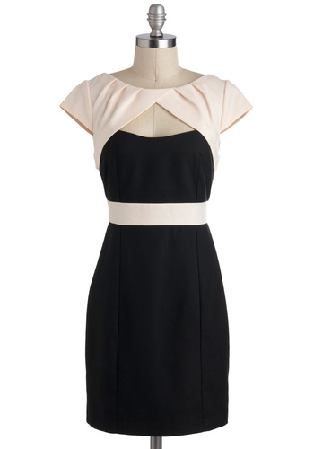 Isn't Sheath Lovely Dress - Short, Black, Tan / Cream, Cutout, Cocktail, Shift, Cap Sleeves, Tis the Season Sale