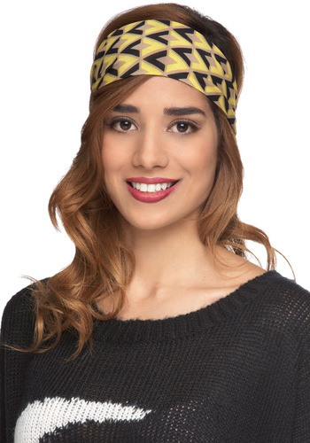 All-Star Bracket Headband - Yellow, Multi, Print, Casual, Boho, Folk Art, 20s, Travel