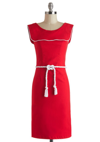 Nautical on Me Dress - Long, Red, White, Casual, Nautical, Sheath / Shift, Sleeveless, Daytime Party, Solid