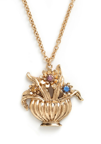 Laudable Arrangement Necklace - Gold, Yellow, Blue, Pink, Flower, Rhinestones, Vintage Inspired, Tis the Season Sale