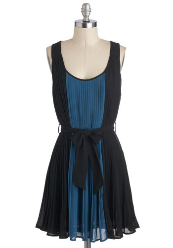 Stream Come True Dress - Black, Blue, Pleats, A-line, Tank top (2 thick straps), Short, Belted, Party, Colorblocking