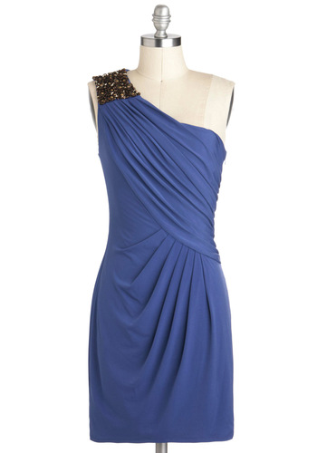 Grecian Glamour Dress - Blue, Solid, Beads, Special Occasion, One Shoulder, Mid-length, Ruching, Party, Cocktail, Luxe