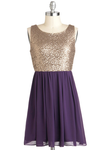 Tennessee-quin Waltz Dress - Purple, Gold, Sequins, Party, Holiday Party, Twofer, Short